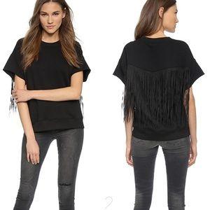 BLK DNM fringe short sleeve sweatshirt